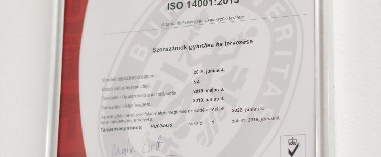 ISO 14001 : 2015 Tanusítvány